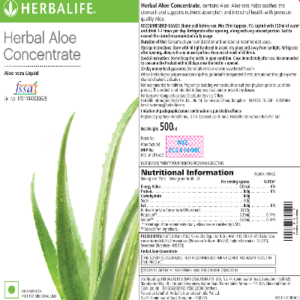 Herbal Aloe Concentrate Nuritional Label